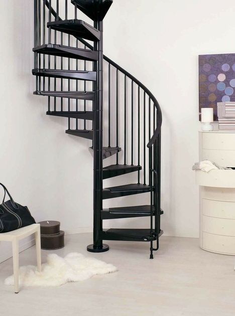 escalier en colima on spirale ark civik en acier noir. Black Bedroom Furniture Sets. Home Design Ideas