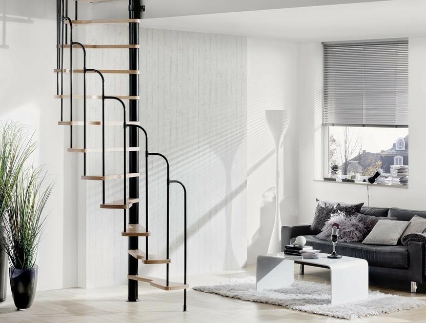 Escalier semi h lico dal treppen en acier et h tre 60 x 120 cm - Escalier colimacon gain de place ...
