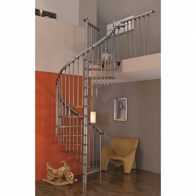 Escalier en colima on h lico dal en acier et h tre minka linz - Largeur escalier colimacon ...