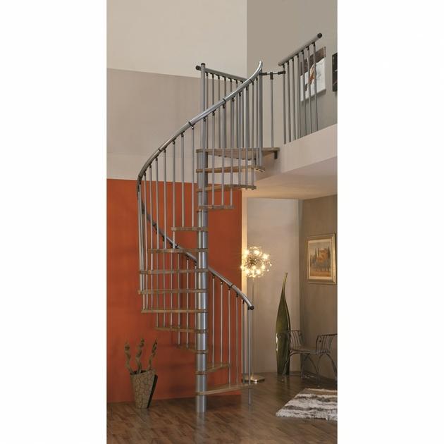 Escalier en colimaçon / hélicoïdal en acier et hêtre Minka Linz