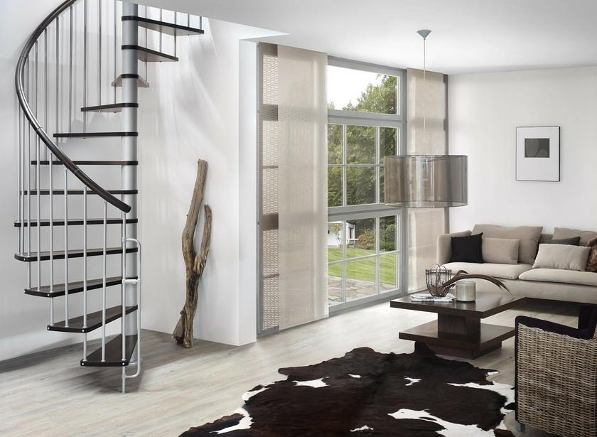 Escalier hélicoïdal Treppen en acier gris et hêtre Ø 120 cm
