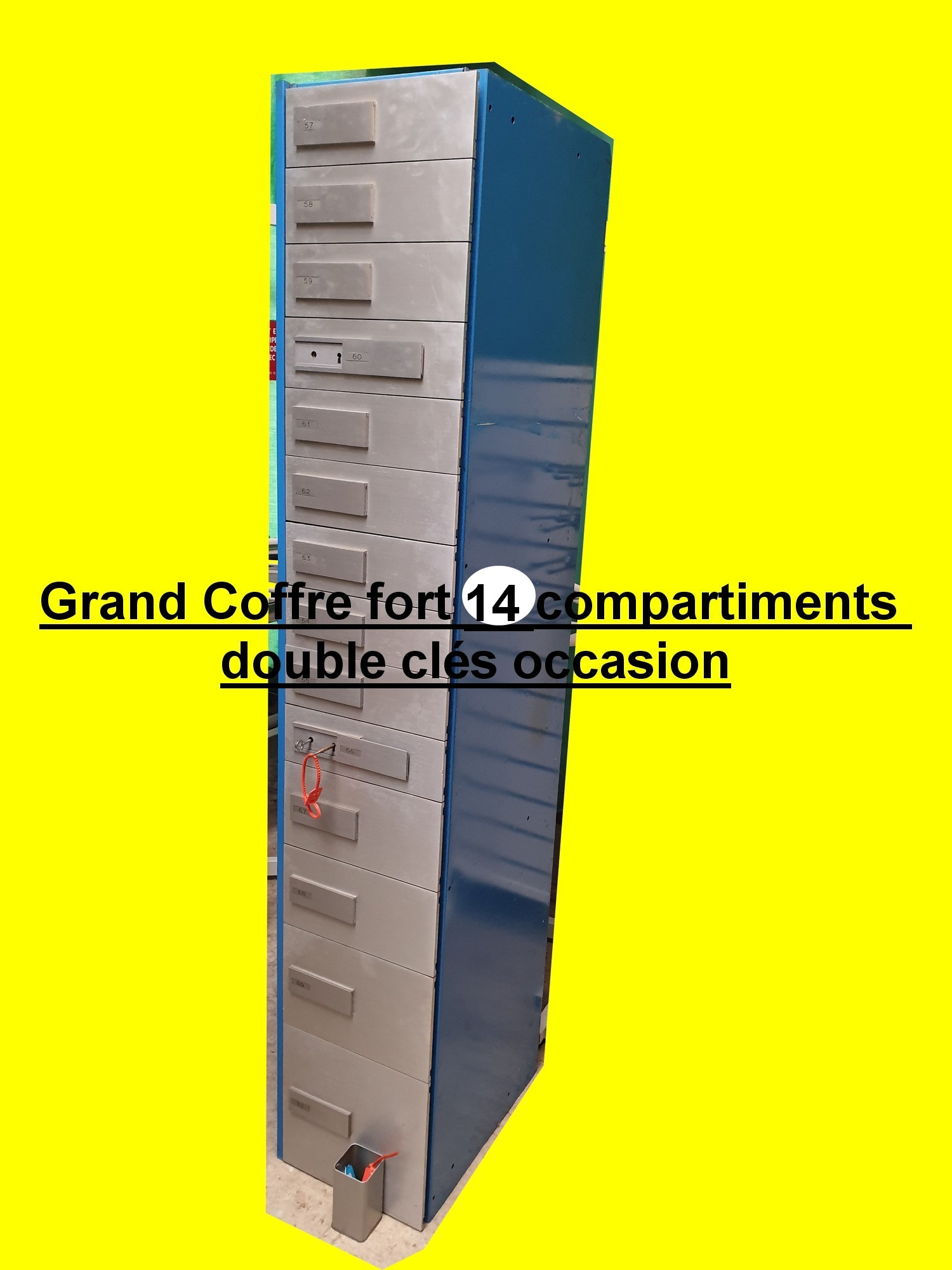 grand coffre fort 14 compartiments double cl s occasion. Black Bedroom Furniture Sets. Home Design Ideas