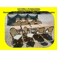Lot 7 tables + 14 chaises Rodos extérieur terrasse SM FRANCE Macorest restaurant bistro pizza occasion X 3 Parasol Perrier en cadeau