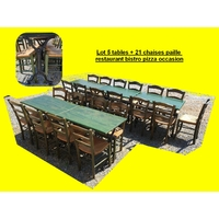 Lot 5 tables + 21 chaises paille restaurant bistro pizza occasion