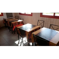 lot 6 tables 12 chaises 6 nappes restaurant pizza bar bistrot (2)