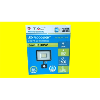 LED 20W PROJECTEUR LED SENSOR NOIR VT-4820 PIR V-TAC 100W Blanc naturel 4500K SKU 5698
