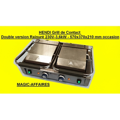 HENDI Grill Panini de Contact Double version Rainuré 230V-3,6kW - 570x370x210 mm occasion