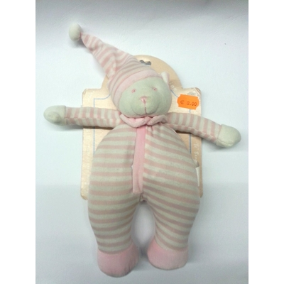 Doudou Peluche Ours Rose Et Blanc Ti Boom