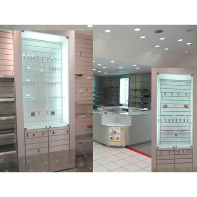 2 VITRINE d'agencement MAGASIN rainurés H-2,79xL-1,02m