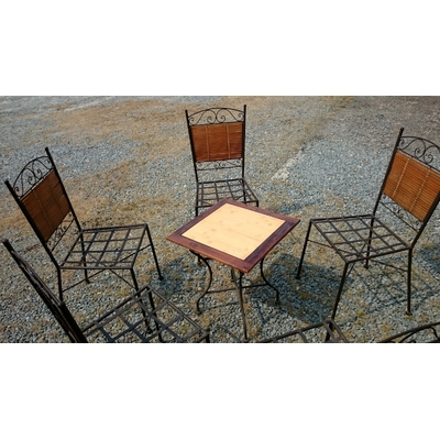 5 chaises fer forgé + 1 table basse occasion (2)