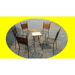 5 chaises fer forgé + 1 table basse occasion