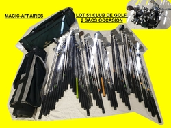 LOT 51 CLUB DE GOLF 2 SACS OCCASION MAC GREGOR , WILSON , BLACK DIAMANT , MASKER , TAYLOR MADE , BIG BERTHA , MAC GREGOR , MIZUNO GOLF PLUS , PRECISE (11)