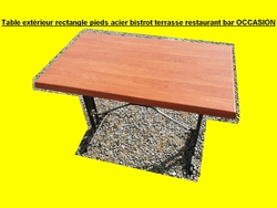 Table rectangle pieds acier bistrot terrasse restaurant bar OCCASION (2)