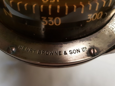 TRADEMARK Sestrel Moore compass - BARKING & LONDON - HENRY Browne & Sons Ltd - N°32770 Pat N° 752093 en bronze et laiton XIXème siècle (11)