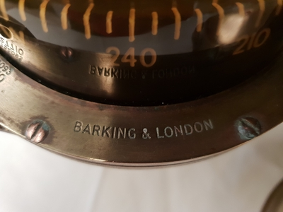 TRADEMARK Sestrel Moore compass - BARKING & LONDON - HENRY Browne & Sons Ltd - N°32770 Pat N° 752093 en bronze et laiton XIXème siècle (12)