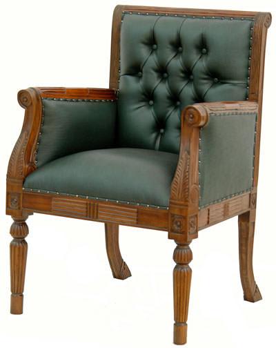 fauteuil de bureau en acajou chesterfield vert meubles de style fauteuils de style et tr nes. Black Bedroom Furniture Sets. Home Design Ideas