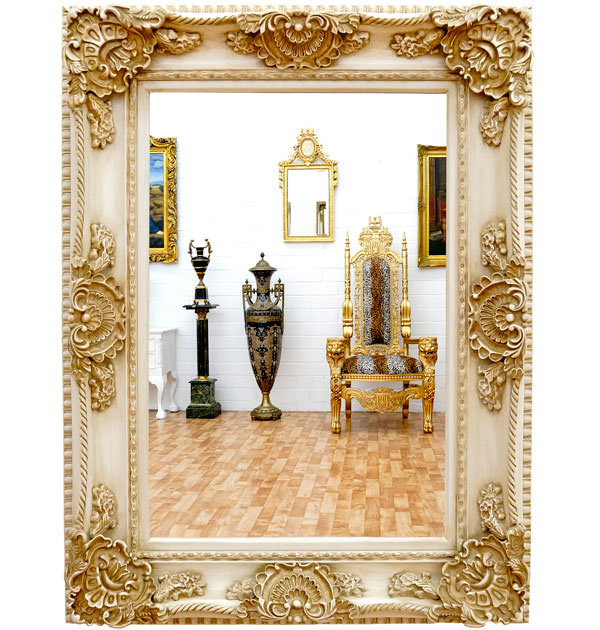 miroir baroque 126x96 cm cadre en bois blanc antique. Black Bedroom Furniture Sets. Home Design Ideas