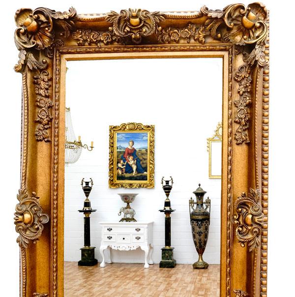 Miroir baroque cadre en bois dor 156x95 cm miroirs for Miroir cadre bois