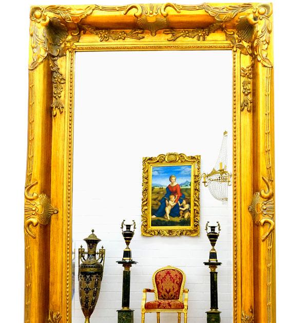 Grand miroir baroque 150x90 cm cadre en bois dor for Miroir baroque dore