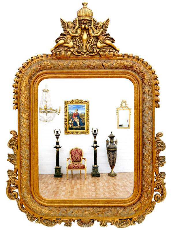 Miroir baroque cadre en bois dore 142x98 cm miroirs for Miroir baroque dore