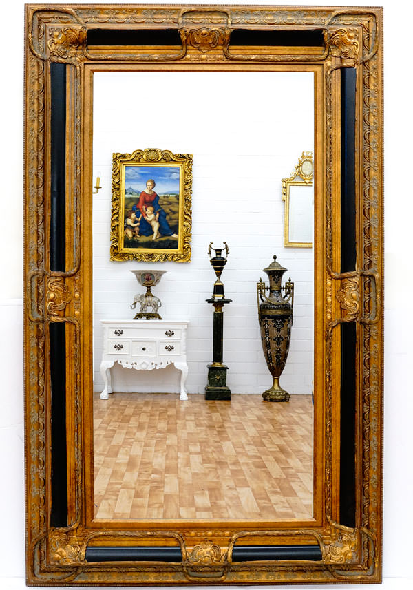 miroir baroque cadre en bois noir et dor 160x98 cm. Black Bedroom Furniture Sets. Home Design Ideas