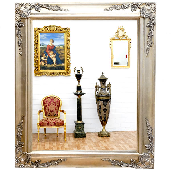 miroir baroque cadre en bois argent 62x52 cm miroirs baroque classic stores. Black Bedroom Furniture Sets. Home Design Ideas