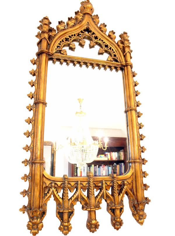 Miroir gothique en bois dor 90x40 cm miroirs baroque for Miroir store