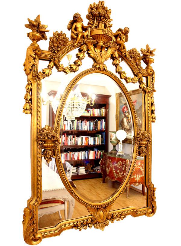 Miroir rococo cadre en bois dor 136x85 cm miroirs for Miroir xviii
