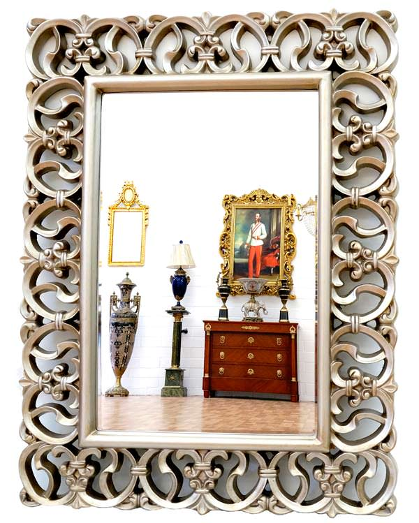 miroir baroque cadre en bois argent 128x92 cm miroirs baroque classic stores. Black Bedroom Furniture Sets. Home Design Ideas