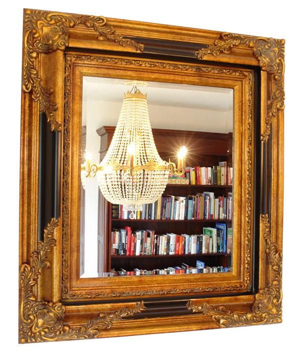 miroir baroque cadre en bois dor et noir 96x86 cm. Black Bedroom Furniture Sets. Home Design Ideas