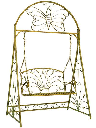 Balancelle style anglais en fer forg vert antique mobilier et d coration d - Fer forge en anglais ...
