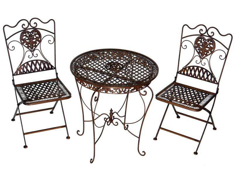 2 chaises et 1 table en fer forg brun mobilier et for Mobilier de jardin en fer forge
