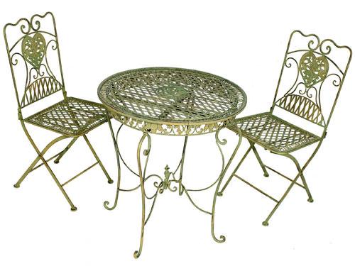 2 chaises et 1 table en fer forg vert mobilier et d coration de jardin tab - Table et chaise en fer forge ...