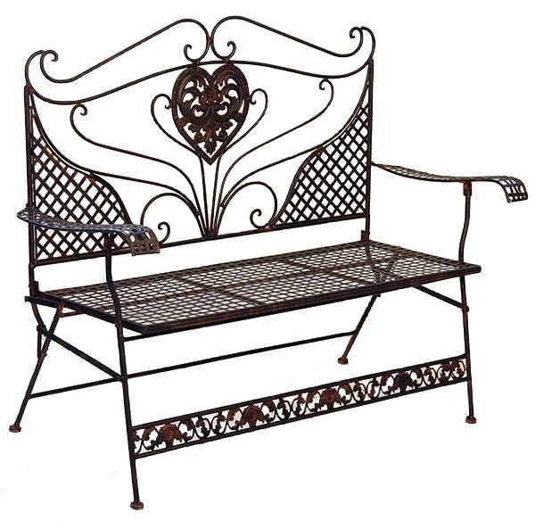 banc de jardin style anglais victorien en fer forg brun. Black Bedroom Furniture Sets. Home Design Ideas