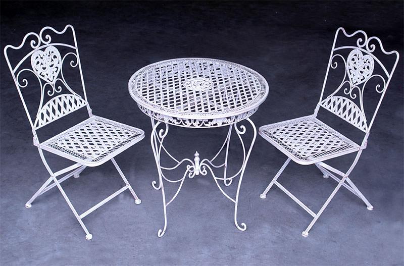 2 Chaises Et 1 Table En Fer Forg Blanc Antique Mobilier