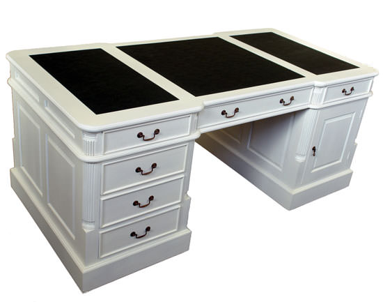 bureau de style anglais 180 cm en acajou massif blanc bristol. Black Bedroom Furniture Sets. Home Design Ideas