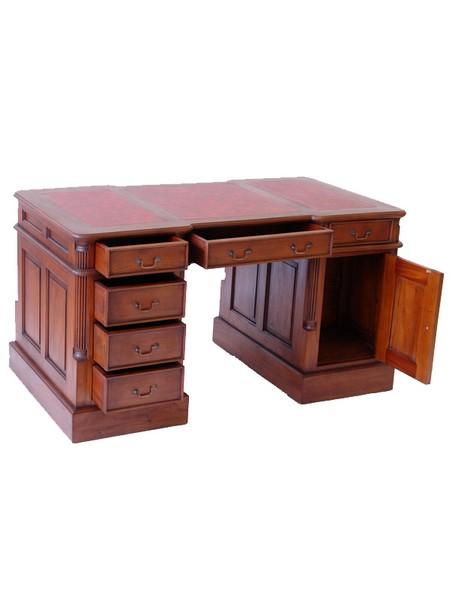 bureau de style anglais 140 cm en acajou sous main rouge. Black Bedroom Furniture Sets. Home Design Ideas