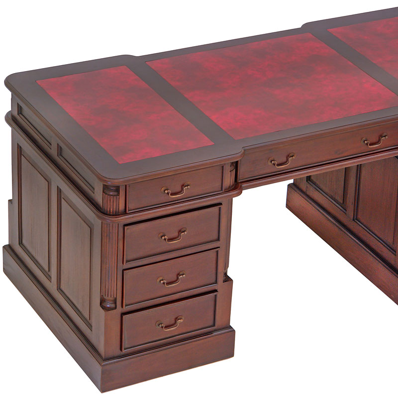 bureau anglais 180 cm acajou sous main rouge bristol. Black Bedroom Furniture Sets. Home Design Ideas