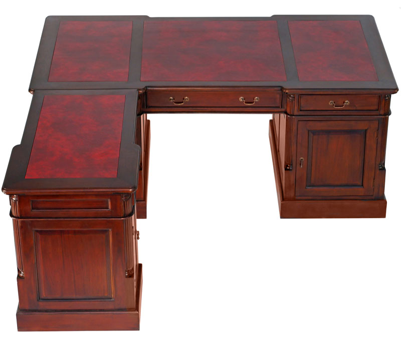 bureau d 39 avocat avec retour victorien en acajou cambridge. Black Bedroom Furniture Sets. Home Design Ideas
