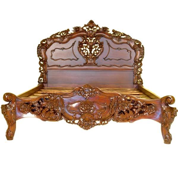 lit rococo en acajou massif brun chambord meubles de style lits baldaquin et lits baroque. Black Bedroom Furniture Sets. Home Design Ideas