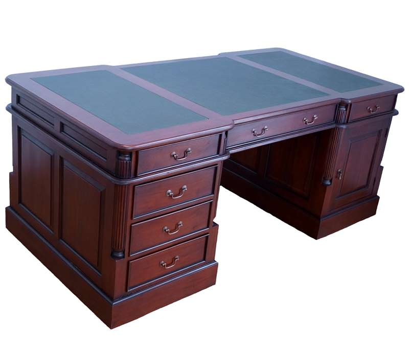 bureau style victorien 160 cm en acajou massif. Black Bedroom Furniture Sets. Home Design Ideas