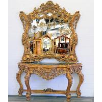 Console baroque royale en hêtre doré style Louis XV Chantilly