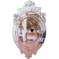 Miroir ovale vénitien 90x50cm style baroque Copertino