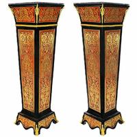 Paire de colonnes en marqueterie Boulle style Napoléon III Certines