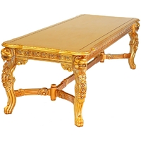 Table repas royale à têtes de lion 260x110cm en acajou massif doré Bolton