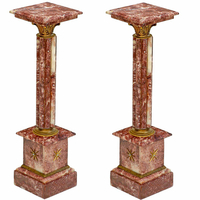 Paire de colonnes en marbre rouge 100 cm style Empire Chamilly