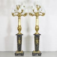 Paire de lampes sur pied style Empire en marbre noir Malmaison