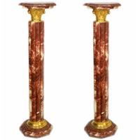 Paire de colonnes corinthiennes en marbre rouge style Empire Colombier