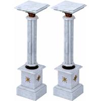 Paire de colonnes style Empire en marbre blanc Chamilly