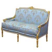 Canapé 2 places style Louis XVI en bois doré et tissu bleu Chambord